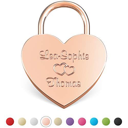 LIEBESSCHLOSS-FACTORY Candado de amor Oro-Rosa grabado en forma de corazón. Caja de regalo gratis y mucho mas.Diseña tu castillo ahora grabado!