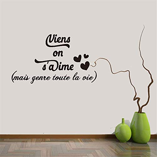 wandaufkleber küche 3d wandaufkleber schlafzimmer schwarz Wall Decal Quote French Quote Come On We Love Each Other But Like All Our Lives Viens On S'Aime Mais Genre Toute La Vie For Living Room