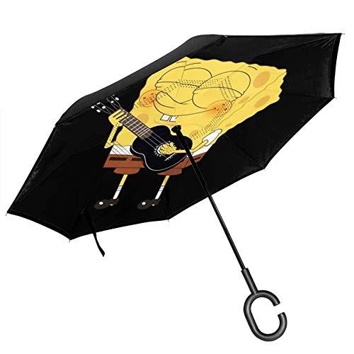 guatan Reverse Inverted Umbrella, doppelschichtiger winddichter Spongebob, der Gitarre von innen nach außen klappbarer Regenschirm mit C-förmigem Griff spielt