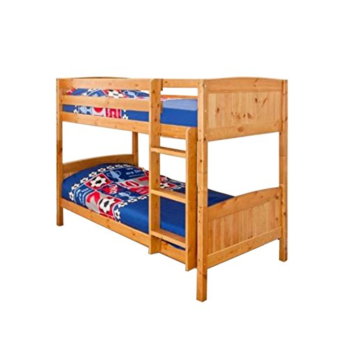 Comfy Living Christopher Pine Bunk Bed in Caramel with 2 Mattresses