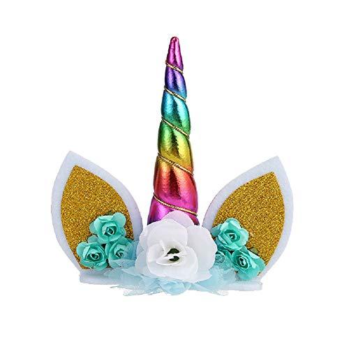 AIUIN Décorations Gâteau, Decoration Licorne Gateau, Cake Topper, Décoration de gâteau Licorne pour fête d'anniversaire Accessoire Gateau DIY(Multicolore)