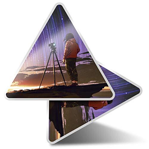 2 pegatinas triangulares de 10 cm – Stargazing Photographer Camera Art Fun Calcomanías para ordenadores portátiles, tabletas, equipaje, reserva de chatarra, neveras #14090