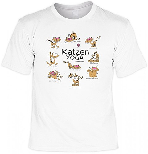 T-Shirt Motivshirt - Katzenyoga - witziges Spruchshirt als Geschenk für den Katzenbesitzer und Tierfreund mit Humor