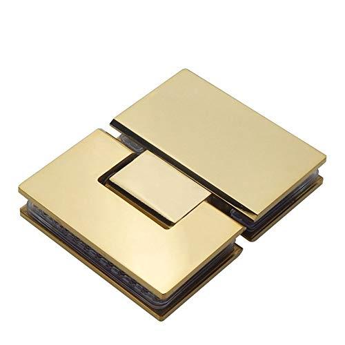 Door hinge Glass Door Bathrooms Gold Stainless Steel 304 Wall Mount Black Glass Shower Door Hinge (180 Degrees Is Open) (Color : GOLD)