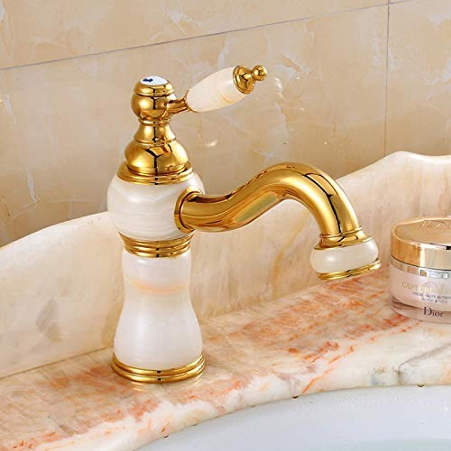 Oudan Taps Basin Hot And Cold Water Faucet Natural Basin Hot And Cold Water Faucet?gold Single Hole Single Handle Basin (color   -, Size   -)