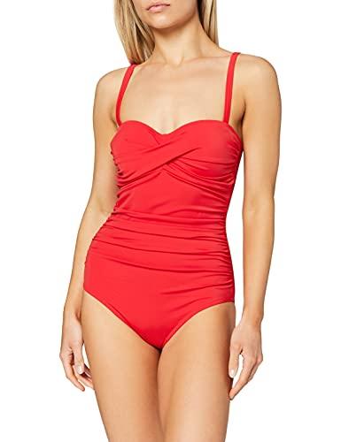Marchio Amazon - Iris & Lilly Costume da Bagno Contenitivo Donna, Rosso (Red), L, Label: L