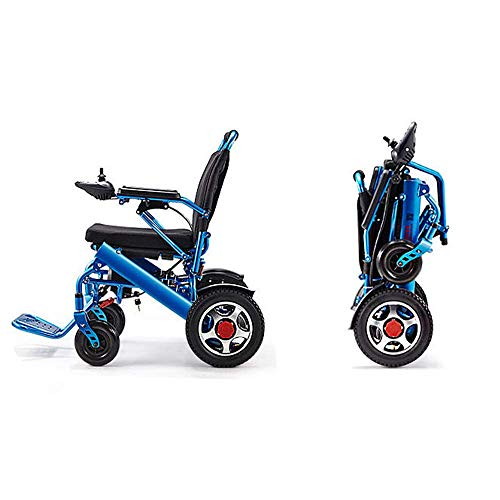 DLY Electric Folding Wheelchair,Disabled Electric Scooter Portable Travel Type Lockable Brake Easy Operation Elderly Remote Control Four Wheelchair