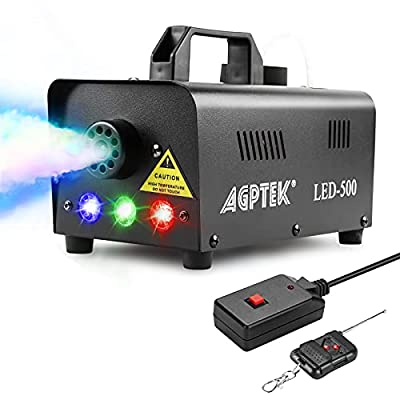 AGPtEK Fog Machine, Smoke Machine 500W with Wireless Remote Control & Colorful LED Light, Huge Fog 2000 CFM Durable & Portable, for Parities Weddings Holidays Halloween Christmas Stage Effect