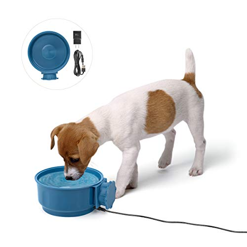 ZLCA Pet Water Heated Bowl for Dogs, Cats, Chickens, Ducks - Pet Thermal Bowls Heating Dog Bowl Feeder Puppy Food Water Heat Bowl, Removable Hanging Rabbit Bird Food Basin
