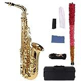 ammoonアルトサックス E Saxophone サックス 管楽器ゴールド 彫刻 セット ケース付き 初心者入門セット