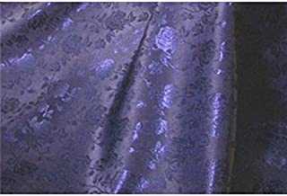 Floral Jacquard Brocade Satin Fabric by the Yard (Navy Blue)