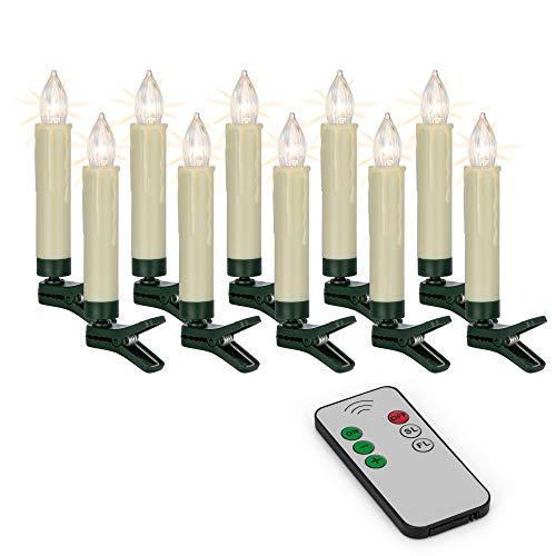 Hellum 530209 LED Weihnachtsbaumkerzen kabellos, 10x warmweiß LED Kerzen mit Fernbedienung, batteriebetriebene 9x1,5cm Christbaumkerzen ohne Kabel, dimmbar mit Flackermodus, Wachstropfen