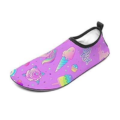 Escarpines de playa, zapatos de agua, calcetines, dulces unicornio lila, estampados, zapatos de surf, agua, calzado descalzo, yoga, color blanco, 44/45
