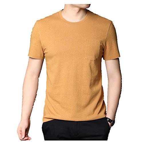 Summer New Round Neck -  Camiseta de algodón para hombre Amarillo amarillo L