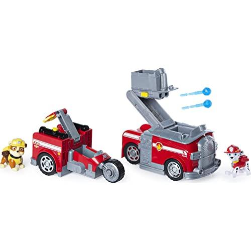 PAW Patrol, camion dei pompieri 2-in-1 trasformabile Marshall Split-Second Vehicle con 2 personaggi collezionabili