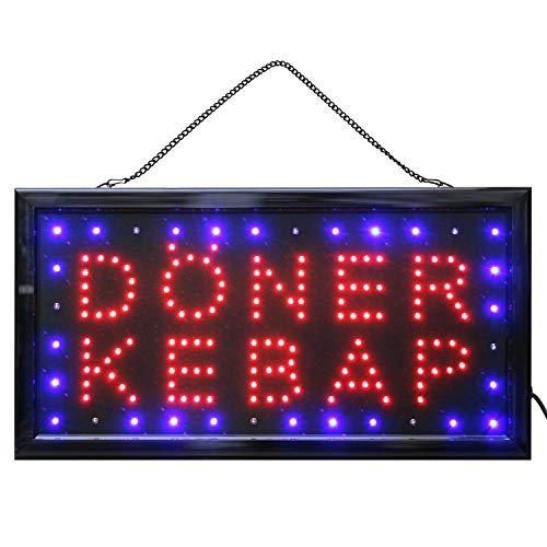 LED Schild Döner Kebap Kebab Reklame Ladenschild Geschäft Leuchtschilder mit Kette Döner-Schild Restaurant