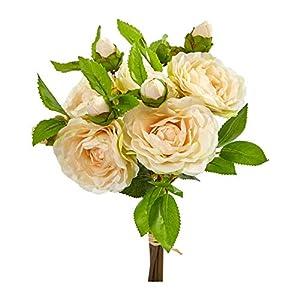 "Silk Flower Arrangements Nearly Natural 2253-S4-PH 11"" Camellia Artificial Bouquet (Set of 4) Silk Flowers Peach"