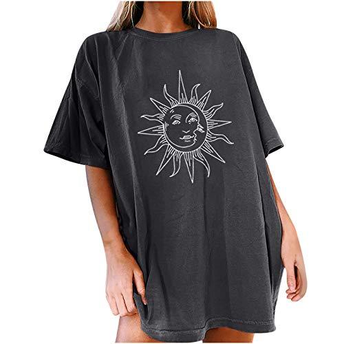 Yangxian Camiseta de Mujer,Gran Tamaño de Manga Corta con Cuello Redondo Deportiva con Motivo de Sol y Luna Vintage Tops para Chicas Adolescentes Camisetas con Sudadera