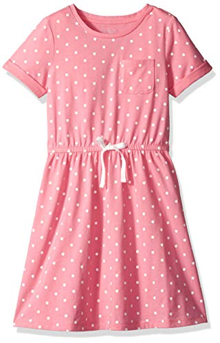 Amazon Essentials Big Girl's Short-Sleeve Elastic Waist T-Shirt Dress, Sachet Pink Simple dot with White Bow, XL