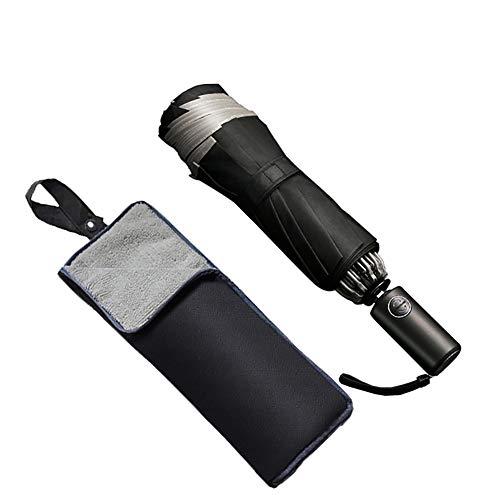 折りたたみ傘 軽量 ワンタッチ 自動開閉 逆折り式 10本骨 280Tteflon撥水加工 風に強い 梅雨対策 晴雨兼用 おりたたみ傘 メンズ 収納ケース付き (ブラック)