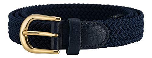 Streeze Damen elastischer geflochtener Stretchgürtel. 25 mm Breite gewebt mit Goldschnalle 5 Größen XS – XL (Marine, XL)
