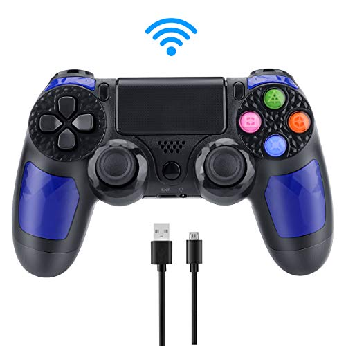 E-More Compatible con Mando PS4, inalámbrico Controlador de Juegos Dual Vibration Gamepad para Playstation 4 y Playstation 3 y PC con Touch Pad y Conector de Audio