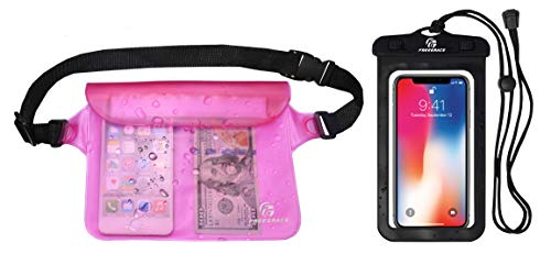 Freegrace Waterproof Pouch with Waist Strap for Boating, Kayaking, SeaWorld, Water Park, Swimming (Pink)