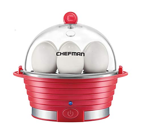 Chefman Electric Egg Cooker Boiler Rapid Poacher, Food & Vegetable Steamer, Quickly Makes Up To 6, Hard, Medium or Soft Boiled, Poaching/Omelet Tray Included, Ready Signal, BPA-Free, Red