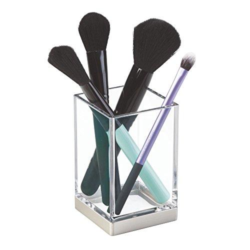 iDesign Portacepillos de dientes, vaso de baño de plástico, guarda cepillos para...