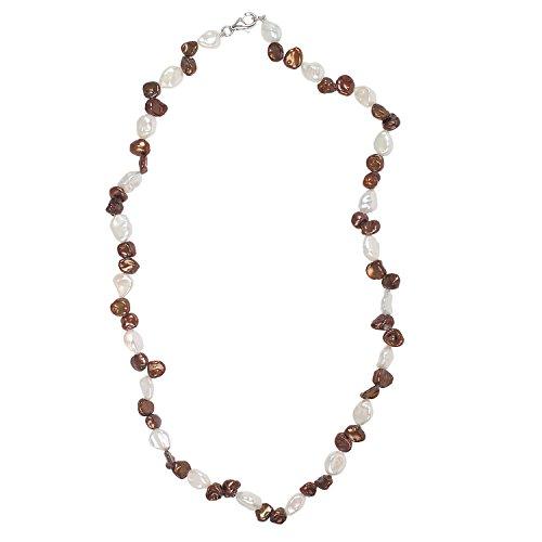 Damen Perlen-Kette aus 925 Sterling Silber mit braune und weiße Keshi-Perlen 45 cm lang