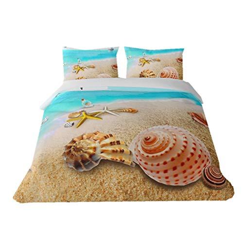 WENYA Juego de Cama Niño Niña Tortuga 3D Funda de Edredón Animales Marinos Pez Coral Playa Estrella de Mar Azul Microfibra Funda Nórdica con Cremallera (Color 4, 200x200 cm - Cama 135 cm)