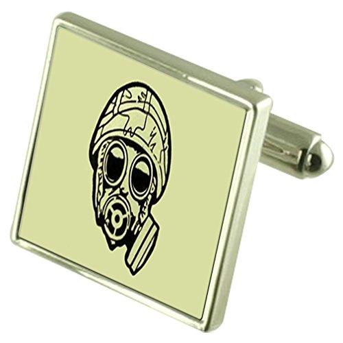 Select Gifts Armee Gasmaske Sterling Silber Manschettenknöpfe graviert Box Optional
