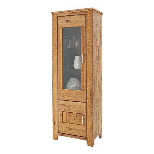 MÖBEL IDEAL Vitrine Wildeiche Massivholz Schrank Eiche Massiv 2 Türen H205 x B72 x T45 cm Natur geölt