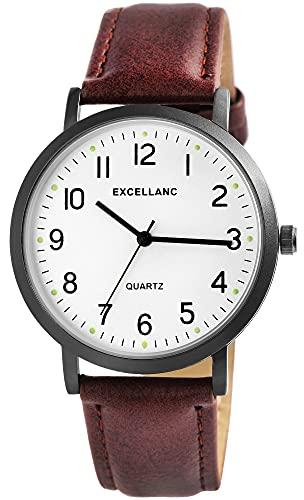 Excellanc Reloj de pulsera para hombre, color blanco y marrón, aspecto de titanio, analógico, piel sintética, clásico, cuarzo