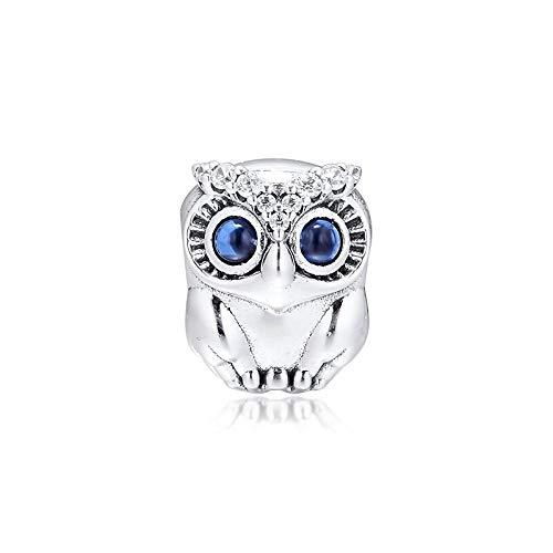 LILANG Pulsera de joyería Pandora 925, Abalorios de Plata de Ley Natural, abalorio de Plata con búho Brillante para Pulsera, Regalo DIY para Mujer