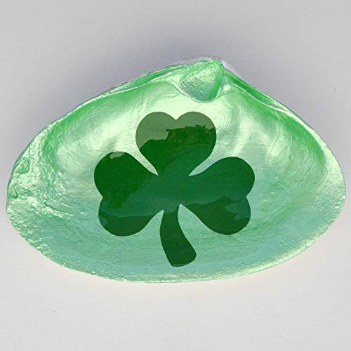 Shamrock Shell Dish - Soap Dish, Spoon Rest, Ring Holder, Jewelry Holders, Trinket Dishes, Catchall Bowl - Irish Themed Accessories - Celtic Home Decor For Bedroom, Bathroom, Kitchen And Office
