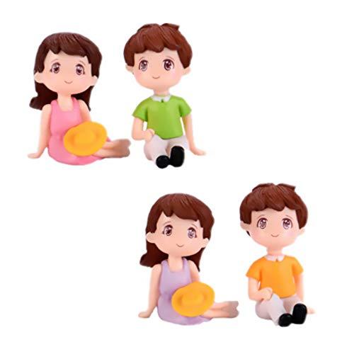 YARNOW 2 Juegos Mini Figuras de Pareja Decoración de Pastel de Boda Juguetes Kawaii para Niños Y Niñas Estatuas de Aniversario de Boda Mesa de Muñecas Figura Coleccionable