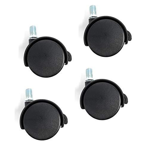 Design61 4er Set Möbelrollen Lenkrollen Ø50 mm mit M10 Gewindestift und Bremse für Weiche Böden