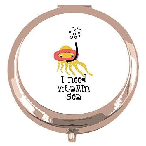 Recorte el pulpo de snorkel Sealife Necesito vitamina mar declaración espejo de bolsillo compacto - oro rosa forma círculo redondo