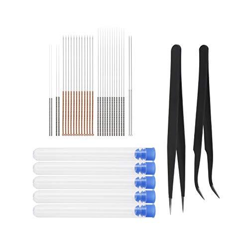 Kit de agujas para impresora 3D, con pinzas curvas y rectas para limpieza de garganta extrusora (0.15, 0.25, 0.35, 0.4, 0.5mm)