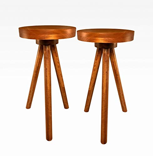 Side Table End Table Round Wood Stool by CW Furniture in Cherry Set of 2 Custom Handmade Barstool Bar Set Modern Minimal Simple Three Legged Accent Nightstand Hardwood
