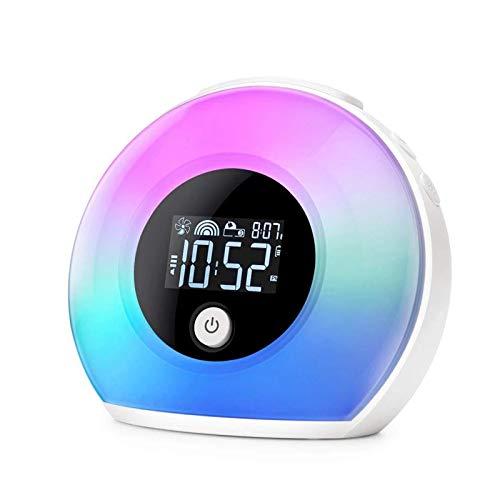 HCFSUK Wake Up Light - Lámpara de escritorio con altavoz Bluetooth, despertador, lámpara de noche digital, luz multicolor, regalo de cumpleaños