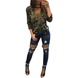 BA Zha Fashion Women's Camouflage Print Simple Casual Autumn Tunic Loose Straps Crop V-Neck Pullover Sweatshirt Long Sleeve Tops Sexy Short Sleeve Blouse Jumper T-Shirt (M, Camouflage Long)