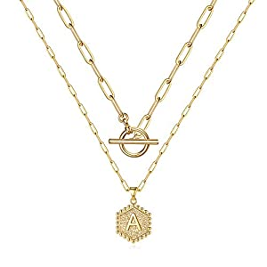 M MOOHAM Gold Initial Necklaces for Women, 14K Gold Plated Layered Initial Necklace Hexagon Pendant Toggle Clasp Layering Gold Chain Necklaces for Women Gold Layered Choker Necklaces for Women