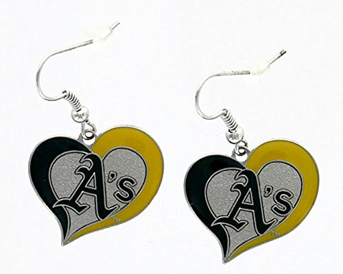 aminco MLB Oakland Athletic's Team Logo Swirl Heart Earring Sports Fan Gift Multi-Color One Size