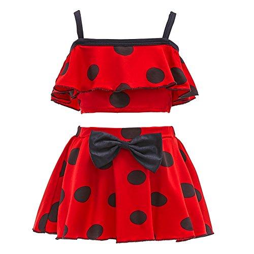Lito Angels Mädchen Ladybug Marienkäfer Badeanzug Bademode, Zweiteiliger Tankini Set mit Rot Schwarz Polka Dot, Gr. 10-11 Jahre