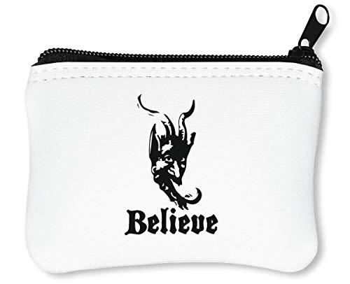 Krampus Mask Believe Cool Reißverschluss-Geldbörse Brieftasche Geldbörse