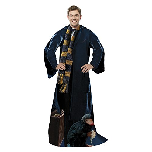 Warner Brothers Fantastic Beasts, 'Newt' Adult Comfy Throw Blanket with Sleeves, 48' x 71', Multi Color