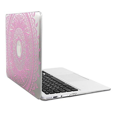 kwmobile Funda para Apple MacBook Air 13(2011-mediados de 2018) Case Protector Duro para Laptop - Carcasa Delgada y Transparente diseño de Sol hindú en Rosa Claro/Transparente