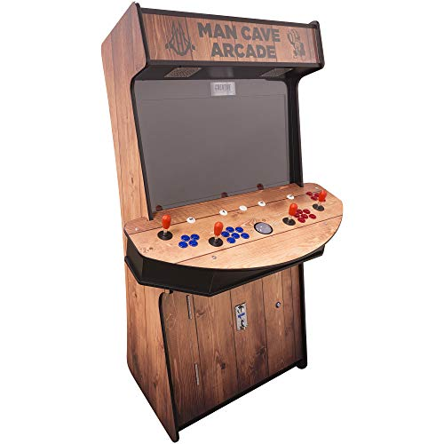 Creative Arcades Full-Size Commercial Grade Cabinet Arcade Machines | Stools Included | 3500 Classic Games (32' Screen Slim (Woodgrain Edition), Trackball)